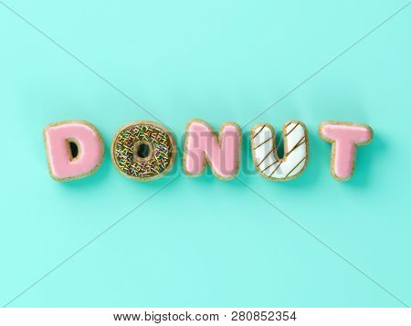 Delicious donuts with shape of letters glaze on yellow background 3D illustration