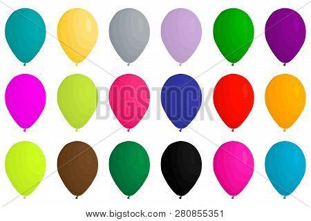 Illustration On Theme Big Colored Set Different Types Inflatable Rubber Balloons, Various Size Ballo