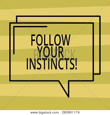 Text sign showing Follow Your Instincts. Conceptual photo listen to your intuition and listen to your heart Rectangular Outline Transparent Comic Speech Bubble photo Blank Space. poster