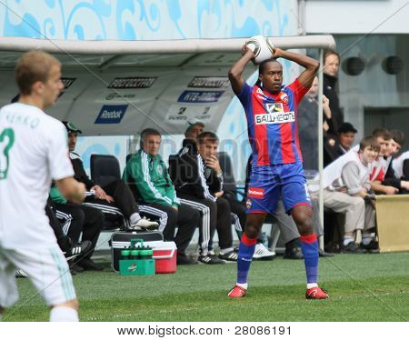 MOSCOW - MAY 10: CSKAs Chidi Odiah in action during their teams Russian football championship game CSKA (Moscow) vs. Terek (Grozny) - (4:1), May 10, 2010 in Moscow, Russia.