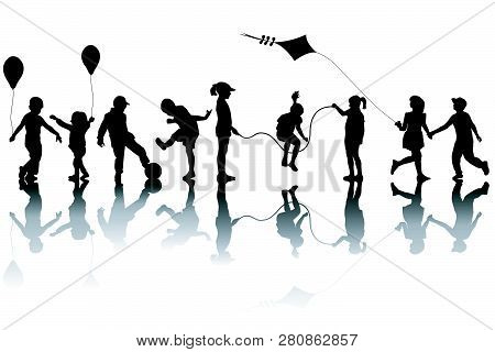 Children Silhouettes Playing With A Kite And Balloons