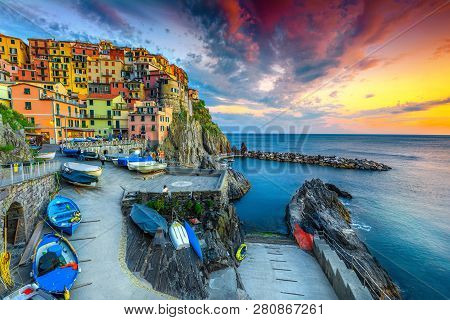 Admirable Travel Destination, Wonderful Mediterranean Village With Traditional Colorful Old Houses A