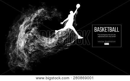 Abstract Silhouette Of A Basketball Player On Dark Black Background From Particles, Dust, Smoke, Ste