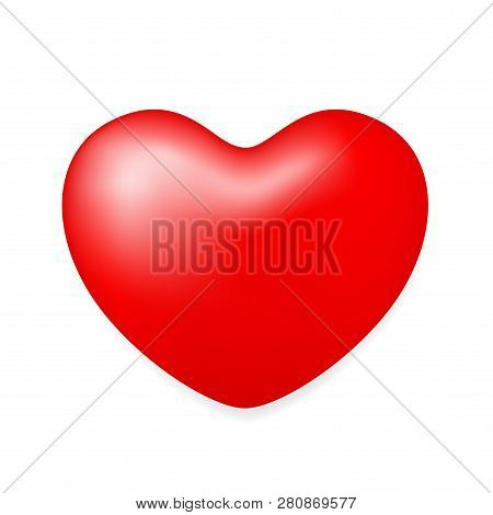 Red Heart Shape Isolated On White Background, Red Heart Shape For Valentine Card Wedding Decoration,