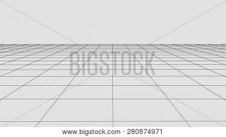 Perspective Grid Background. Abstract Vector Wireframe Landscape. Abstract Mesh Background. Vector I