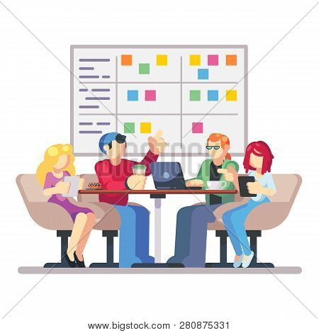 Team Working Together On A Big It Startup Business. Strategy Planning Meeting. Scrum Task Board Hang
