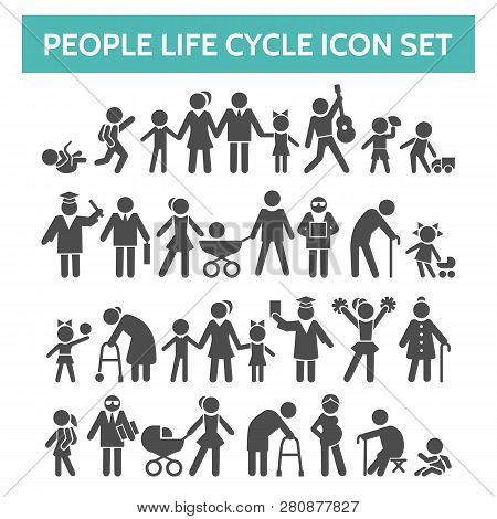 People Life Cycle Icons. Vector Illustration Of Person Growing Up From Baby To Old Age Human Isolate