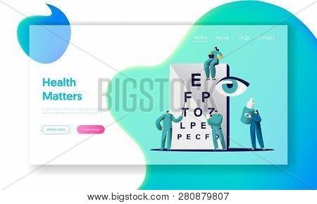 Ophthalmologist Doctor Check Eye Sight Landing Page. Man Oculist Character Analysis Eyesight. Medica