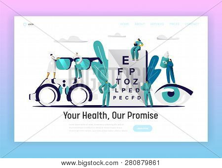 Ophthalmologist Doctor Test Eyesight Landing Page. Male Oculist With Pointer Perform Eye Examination