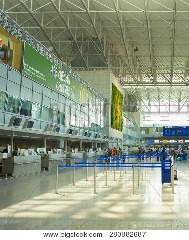 Frankfurt, Airport - August 29, 2018: People At Departure Hall At The Frankfurt International Airpor