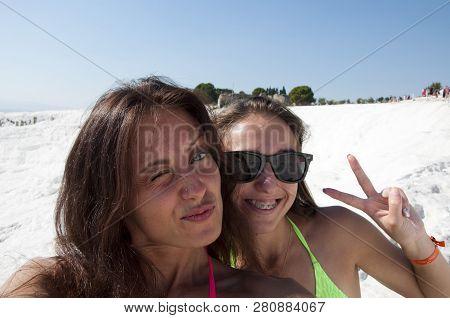 Selfie Time. Summer Vacation. Cotton Castle In Turkey. Selfie. Dead Sea Salty Shore. Sexy Girl. Frie