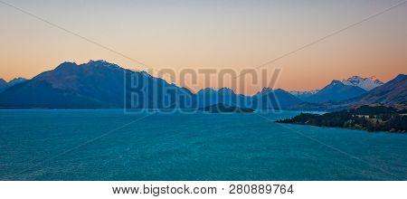 Lake Pukaki At The Sunset Time, New Zealand