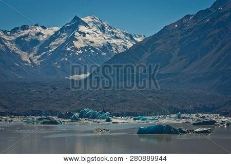 Majestic Tasman Glacier And Floating Icebergs On The Tasman Lake, Nz