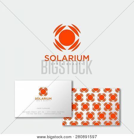 Solarium Logo. Sun Emblem. Suntan Salon Icon. Orange Sun With Rays On A White Background. Identity.