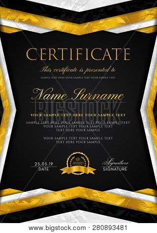 Certificate Template With Geometry Frame And Gold Badge. Black Background Design For Diploma, Certif