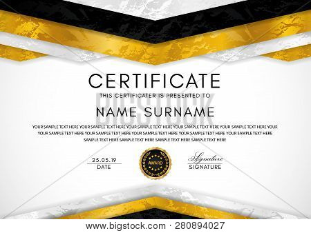 Certificate Template With Silver Geometry Frame And Gold Badge. White Background Design For Diploma,