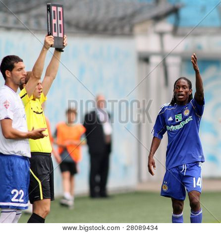 MOSCOW - JULY 3: Dynamo Kyiv's midfielder Frank Temile (R) and Dynamo Moscow forward Kevin Kuranyi (L) in the game FC Dynamo Moscow vs.FC Dynamo Kyiv, July 3, 2010 in Moscow, Russia.