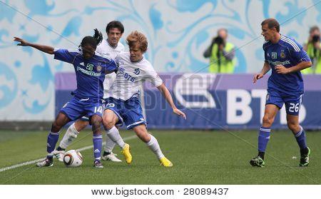 MOSCOW - JULY 3: Dynamo Kyiv's midfielder Frank Temile (14) and Dynamo Moscow forward Aleksandr Kokorin (99) in the game FC Dynamo Moscow vs.FC Dynamo Kyiv, July 3, 2010 in Moscow, Russia.
