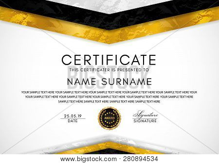 Certificate Template With Geometry Frame And Gold Badge. White Background Design For Diploma, Certif
