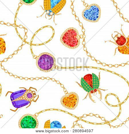 Golden Chains and Brooch with Gemstones Seamless Pattern. Jewelry Emeralds, Gold Accessories, Gems and Diamonds Fashion Pattern for Fabric Textile. Vector illustration poster