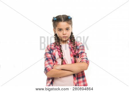 Fashion Trend. Girl Confidently Crossed Arms On Chest. Child Little Girl Colorful Braids Fashionable
