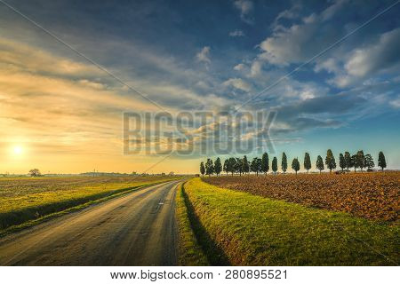 Sunset Landscape In Maremma Countryside. Rural Road And Cypress Trees. Tuscany, Italyeurope