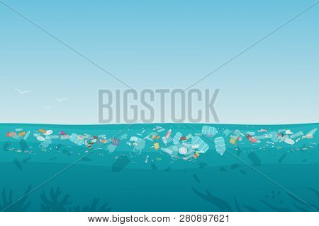 Plastic Pollution Trash On Sea Surface With Different Kinds Of Garbage - Plastic Bottles, Bags, Wast