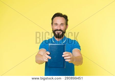 Literary Critic. Man Mature Bearded Guy Hold Book. Satisfied Reader. Book Presentation Concept. Auth