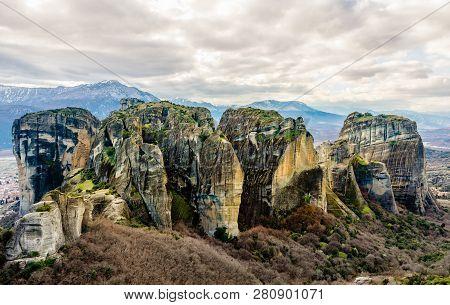 Rocks And Cliffs Of Meteora Sandstone Formation, Kalampaka, Trikala, Thessaly, Greece