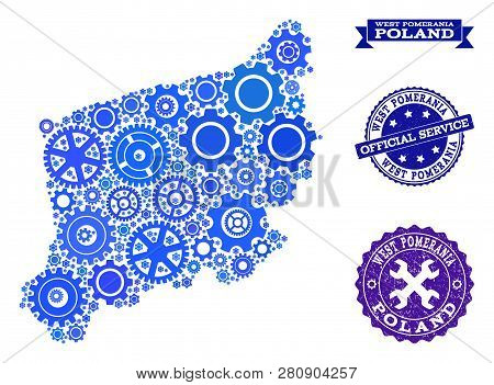 Map Of West Pomerania Province Designed With Blue Wheel Symbols, And Isolated Scratched Stamps For O