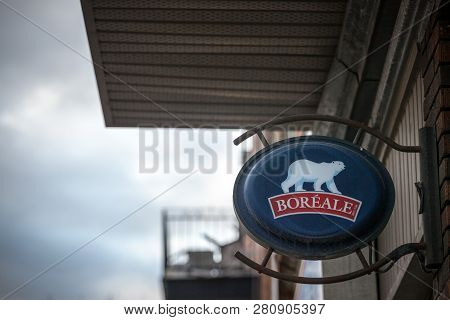 Montreal, Canada - November 9, 2018: Biere Boreale Logo In Front Of One Of A Bar In Montreal, Quebec