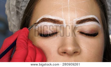 Eyebrow Correction. Eyebrow Dyeing And Hair Drawing To Create Perfect Shape. Work Of Master Cosmetol