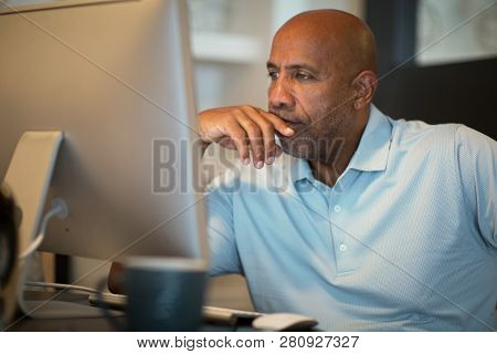 Mature African American Man Upset And Looking Concerened.