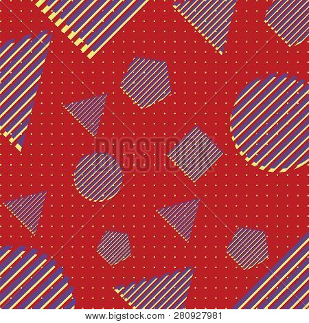 Abstract Geometric Pattern. Memphis Style. Retro, Bright Colorful. Trendy Colors. Elements And Backg