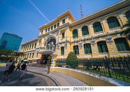 Ho Chi Minh City, Vietnam - 01, 2019: The Ho Chi Minh City Post Office, Or The Saigon Central Post O