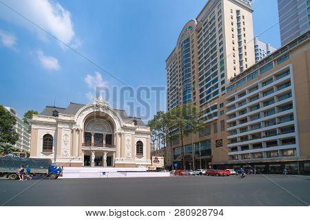 Ho Chi Minh City, Vietnam, 01 2019: Sai Gon Opera House Or Greco Roman Woman Statues Old Opera House