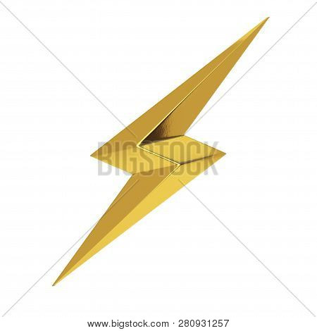 Golden Thunderbolt Lighting Icon On A White Background. 3d Rendering