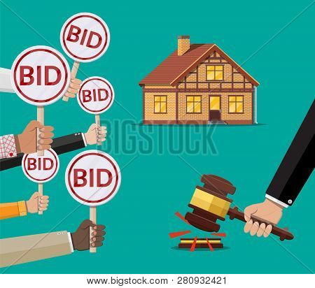 Hands Holding Auction Paddle. Bid Plate. Real Estate, House Building. Auction Competition. Vector Il