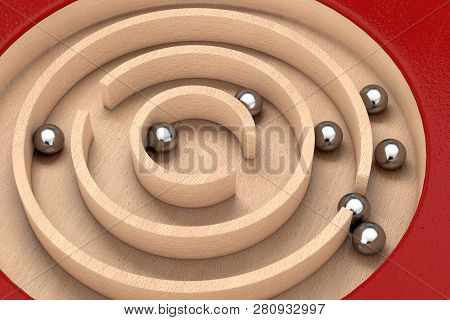 Red Wooden Education Labyrinth Maze Toy Game For Children Memory Advance Learning Extreme Closeup. 3