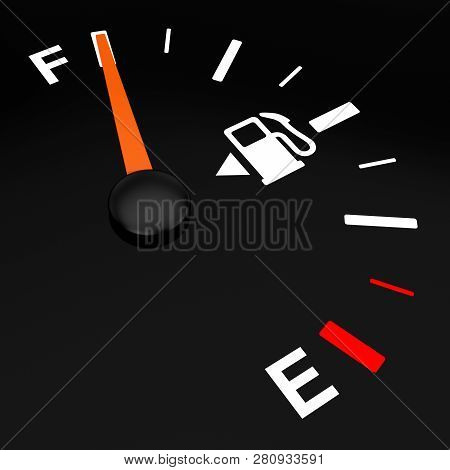 Fuel Dashboard Gauge Showing A Full Tank On A Black Background. 3d Rendering