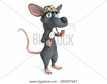 3d Rendering Of A Cute Smiling Cartoon Mouse Holding A Magnifying Glass And Pipe, Dressed As Detecti