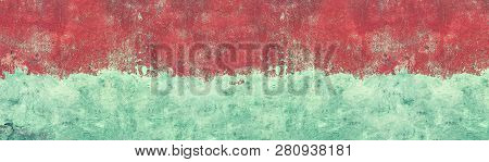 Old Shabby Blue Concrete Wall Texture With Cracked Red Paint. Wide Grunge Panoramic Background