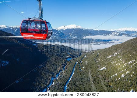 Whistler, Bc, Canada - Jan 14, 2019: The Peak 2 Peak Connects Blackcomb And Whistler And Is The Long