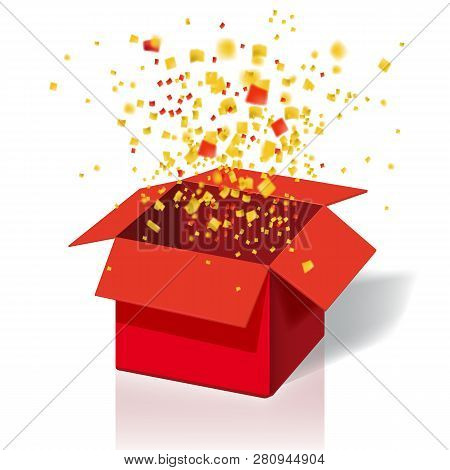 Box Exploision, Blast. Open Red Gift Box And Confetti. Enter To Win Prizes. Win, Lottery, Quiz. Vect