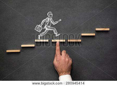 Domino Effect And Business Challenge Concept With Hand Drawn Chalk Illustrations On Blackboard