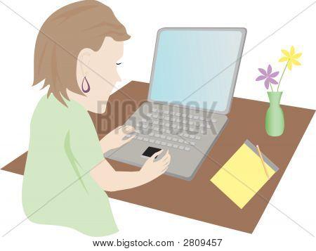 Woman Computer.Eps