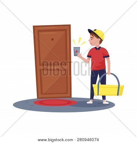 Delivery Boy Ringing At Apartment Doorbell. Guy Holding Bag With Order. Fast Food Delivery Service F