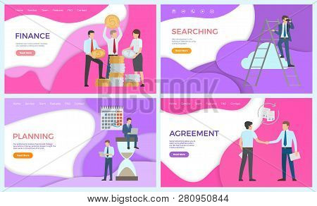 Finance Searching Of Investors And New Business Ideas Vector. Planning Workers, Deadline And Calenda