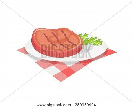 Bbq Beefsteak Meal On Plate With Herb. Condiment Of Beef Roasted Meat Barbeque Food Served With Bran