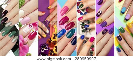 A Diverse Range Of Nail Design.solid Color Manicure With Bright Nail Polishes.collage By Nail Art.